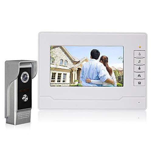 NN99 Farbe Video Türsprechanlage Türklingel Intercom System Kit 7 zoll Monitor + IR Nachtsicht Videokamera Türsprechanlage für Zuhause (1 Kamera + 1 Bildschirm) (Tür Kamera Intercom-system)