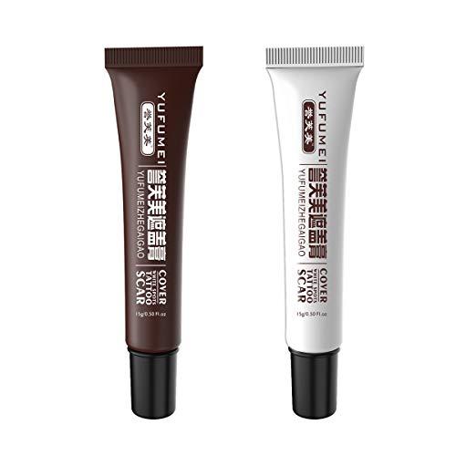 Concealer,Tattoo Cover Up Concealer Set,Professional Waterproof Total Coverage Birthmarks Spot Scar Concealer Kit (2 pcs) - Creme Lightening Kit