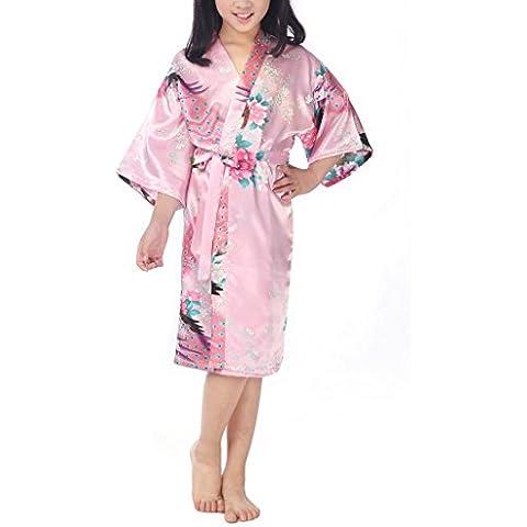 Ragazze Lusso Pavone e Fiori Raso Kimono Vestaglia Pigiama Corta