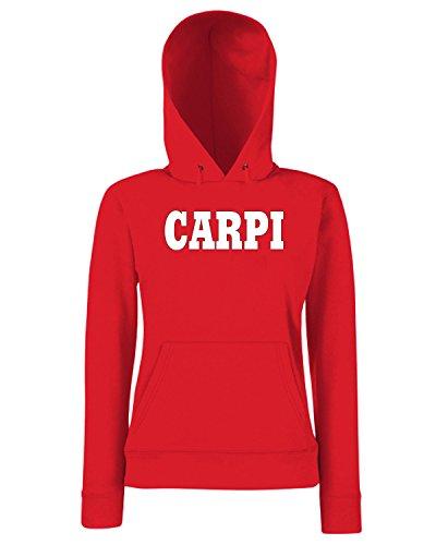 T-Shirtshock - Sweats a capuche Femme WC0907 CARPI ITALIA CITTA STEMMA LOGO Rouge