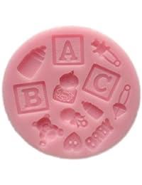 Auket # 99 ABC Lettre Baby Bear Lait Fondant moule en silicone Sugarcraft de décoration de gâteau (3DMold-99)