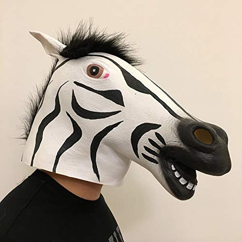 YaPin Tiermaske Zebra Maske Pferdekopf Maske Lustige Bühne Bar Party Performance Persönlichkeit Maske (Halloween Zebra Make-up Kinder)