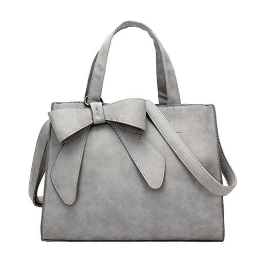 Yiiquan Damen Winter Einfach Handtaschen Kreuz Körper Tote Umhängetasche mit Bow Dekoration Licht Grau