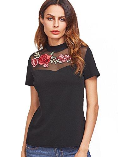 ROMWE Damen Rose Blumen Stickerein T-Shirt Tüll-Einsatz Party Cocktail Top Oberteil Schwarz