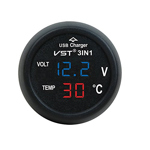 3in1 Auto Zigarettenanzünder mit USB-Anschluss Digital 12V/24V Voltmeter Thermometer Multi-Funktion KFZ Ladegerät (Blau + Rot)