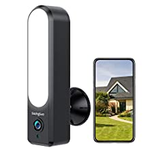 GazingSure Security Camera Outdoor - 1080P FHD Floodlight Cam WiFi CCTV Surveillance Camera with 2-Way Talk, 30ft Night Vision, IP67 Weatherproof, Work with Alexa and Google Assistant