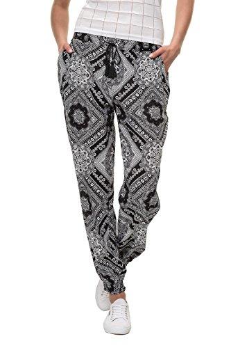 575bbabd69 Hailys Damen Hose Sommerhose Freizeithose Print Comfort Fit Strandhose (S,  Black/Print 1