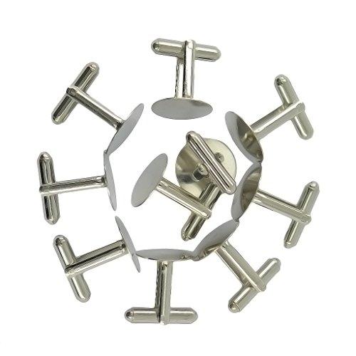 Generic 10Pcs Boutons de Manchette Pad de Base DIY - D'argent