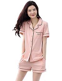 Comfort season Pijamas de algodón de verano puro de manga corta de corto plazo de ropa de moda ropa de dos piezas ( Color : Naranja , Tamaño : L )