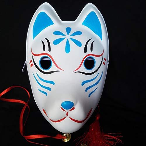 Mascarade Fox handgemachte Maske, handbemalte Cos Kleid Maske, umweltfreundliche bemalte Plastikmaske, Prom Maske for Männer und Frauen, volles Gesicht süße japanische Maske (Color : H)