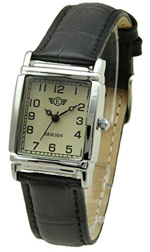Damen Kleid Armbanduhr Rechteck schwarz Leder Gurt ls-blk