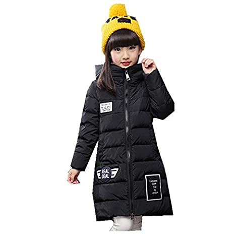 Girls' Winter Parka Down Coat Puffer Jacket Overcaot Think Warm Outwear Claasic Fashion (8T, Black)