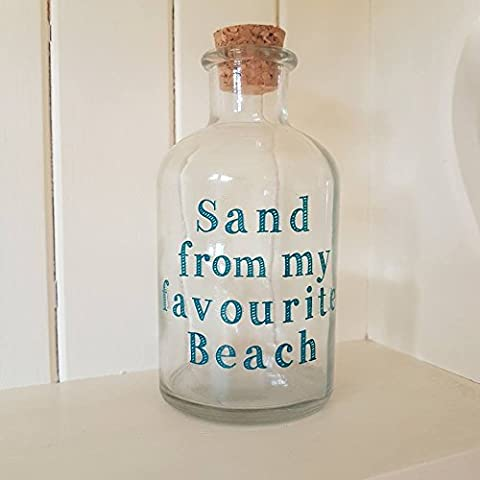 Glass Bottle Sand From My Favourite Beach Holiday Seaside Cork Topped Bottle by Heaven Sends
