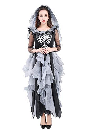 Forever Young Deluxe Damen Zombie Bride Kostüm Erwachsene Skelett Halloween Outfit Gr. 42, Schwarz (Skelett Für Erwachsene Kostüm Deluxe)