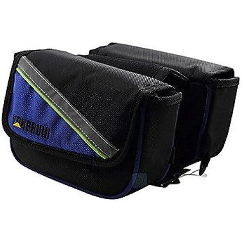 Rongruihr 4.6 pollici 1680D tessuto oxford borsa telaio bicicletta indossabile impermeabile blu e nero con banda