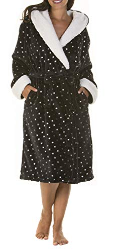 i-Smalls Women's Hooded Robe with Sherpa Trim Featuring All Over Shiny Star Print (S/M) Black Trim Dressing Gown