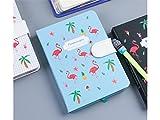 kangqi Büro Cartoon Flamingos Hardcover Notebook Personal Tagebuch Notizbücher und Zeitschriften Papier Bücher für Office School (Sky-Blue) Für Schüler