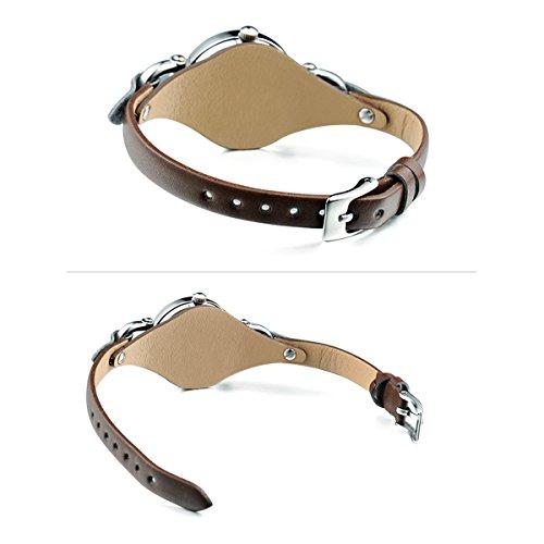 Alienwork Mini Damen/Mächen-Uhr Silber Braun-Glas Leder-Armband Braun YH.KW545S-03 - 4
