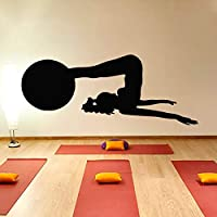 Ajcwhml Woman with A Ball Fitness Exercise Gym Yoga Practice Silhouette Vinyl Home Decor Wall Sticker 105Cmx44Cm