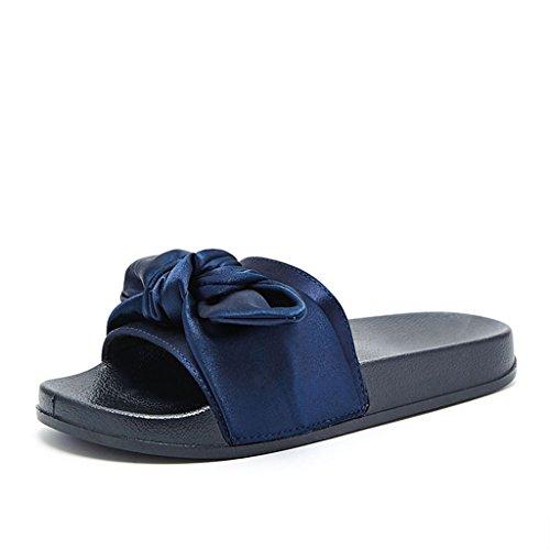 Liuxuepin pantofole parola casual antiscivolo piatte con fiocco in raso. pantofole da indossare per la moda estiva femminile (colore : blu, dimensioni : 38)