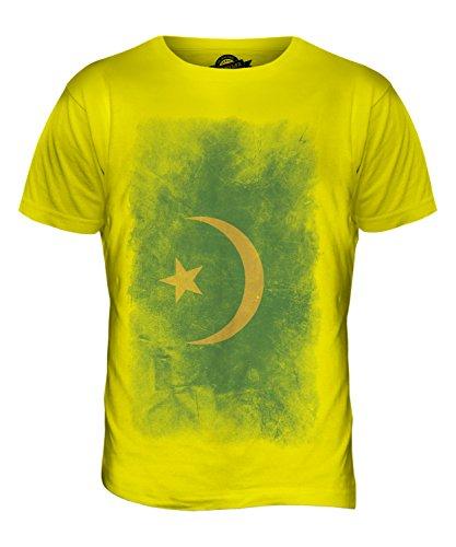 CandyMix Mauretanien Verblichen Flagge Herren T Shirt Zitronengelb