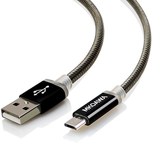 Micro USB Kabel Metall 1m - MKOAWA® 2,4 A [ USB Schnellladekabel ] Metall Ladekabel - High Speed Sync und Ladekabel für Android Smartphones, Samsung Galaxy, HTC, Huawei, Sony, Nexus, Nokia, Kindle und mehr - Schwarz