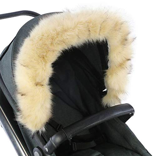 For-Your-Little-One Fur Hood Trim Pram Compatible on Aubert, Beige For-your-Little-One Universal faux fur Snap buttons to attach Deluxe feel 1