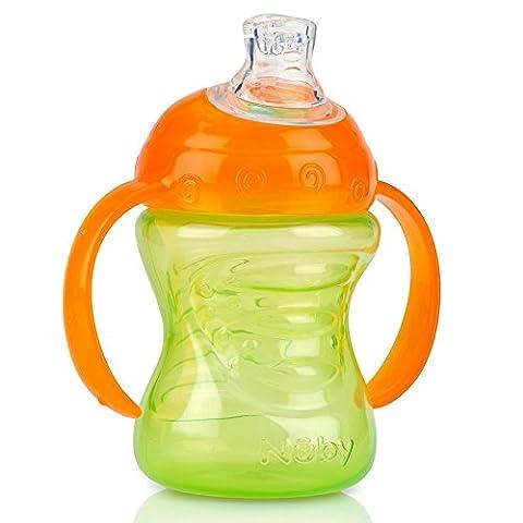 Nuby 10069 Cliquez-il No-Spill Grip N 'SIP avec 2 poignées Easy Grip, 4+ Mois 8 oz (240 ml) Débutants Sippy Cup avec un bec en silicone souple, Etape 1 Les couleurs peuvent varier