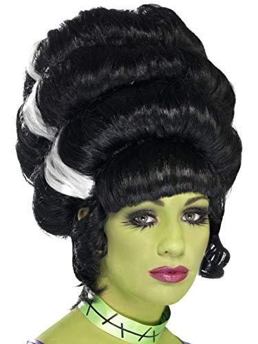 Luxuspiraten - Kostüm Accessoires Zubehör Damen Bienenkorb Perücke Frankenstein mit weißen Strähnen im Barock Stil, perfekt für Karneval, Fasching und Fastnacht, ()