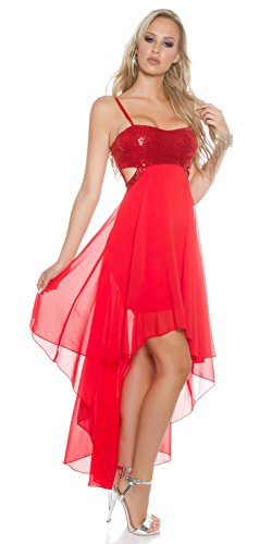 Vokuhila Ballkleid Abiballkleid rückenfrei Langes Abendkleid Cocktaikleid Party Kleid Deluxe rot M