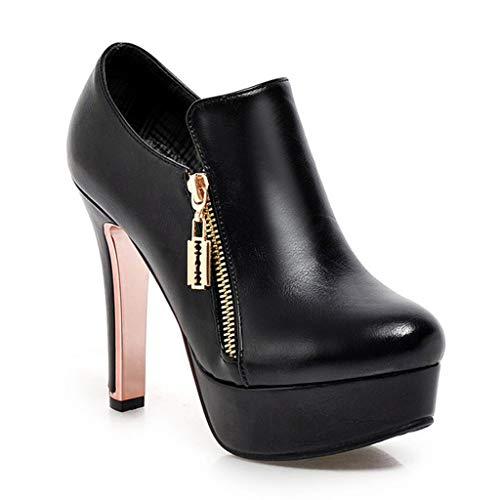COZOCO Damen Mode Non-Slip Runde Zehen Stiefeletten Ferse Pumps Knöchel Ritter Booties Stiefeletten dünne Ferse Freizeit Stiefel(schwarz,38