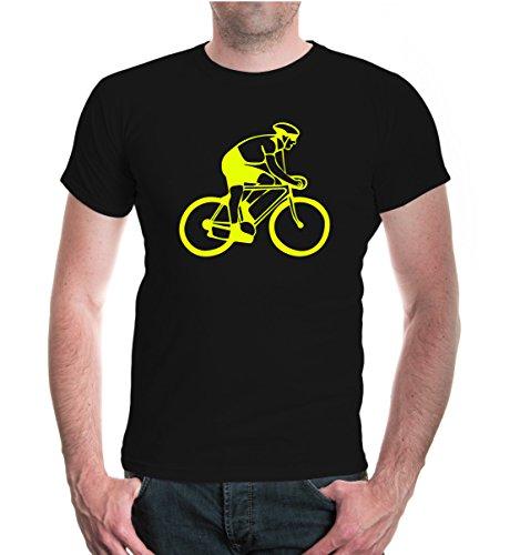 buXsbaum® T-Shirt Radfahrer-Silhouette Black-Neonyellow