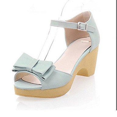 LvYuan Damen-Sandalen-Büro Kleid Lässig-PU-Blockabsatz-Club-Schuhe-Blau Rosa Weiß Blue