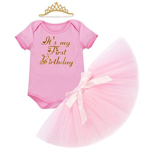 Obeeii Baby Mädchen 1. Geburtstag Outfit Neugeborenen Prinzessin Kleid für Geburtstagsparty Cake Smash Foto Strampler + Tutu Rock + Krone Stirnband 3pcs Bekleidungssets für Säugling Kinder 6-18 Monate (Bow Mantel Detail)