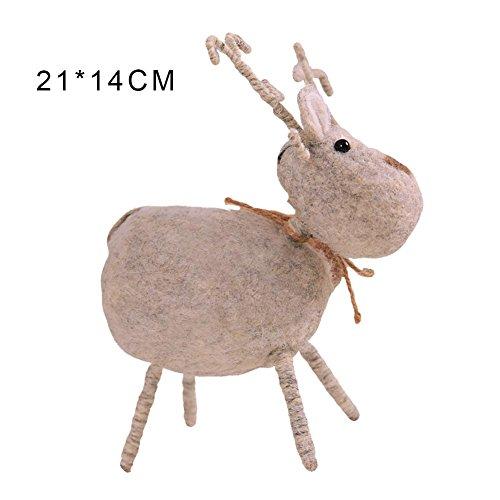 Kbsin212 - Figura decorativa para ventana, diseño de ciervo hecho a mano, ideal como regalo de Navidad, árbol de Navidad, B:Medium gray white deer