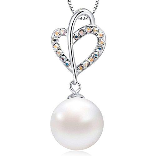 MEGACHIC Collana da Donna in Argento Sterling 925 con Perle Cuore Cristalli da Swarovski
