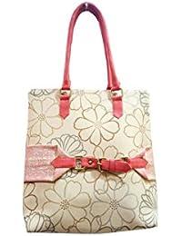 V Raj Bag Women's Raw Silk Off White Handbag ( 40 X 12 X 30 Cm (L × W × H ))