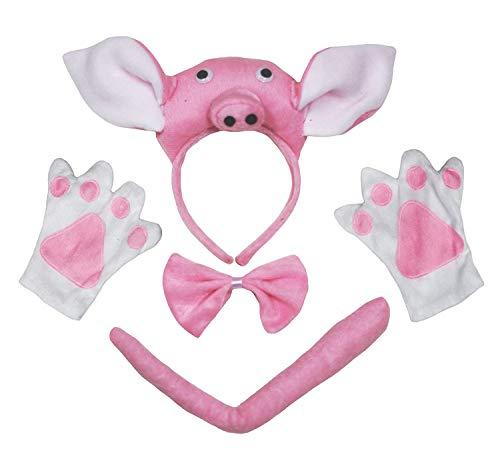 Petitebelle 3D Pink Pig Headband Bowtie Tail Gloves 4pc Children Party Costume (One Size) (Pig Tail Kostüm)