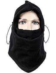 thermique Fleece Balaclava, hiver foulard masque facial, masque de ski de cyclisme, CS Hat tactique Cagoules - Noir