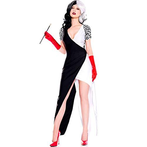 LNC-QQNY Sexy Dessous Sexy Kostüm Bühnenkostüm Neues Halloween Schwarz-Weißes Yin-Yang Clown Kostüm (Color : Black, Size : - Yin Und Yang Kostüm