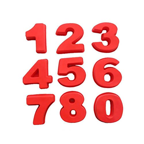 BESTONZON Große Silikon Anzahl 0-8 Nummer Backform Kuchenform Schokoladenform für Hochzeit Jubiläum Geburtstag 9 Stück (Rot)