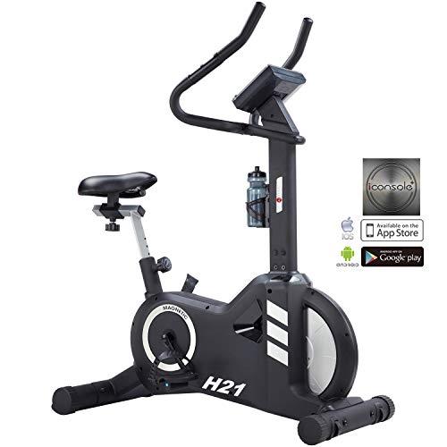 AsVIVA H21 Pro Heimtrainer und Ergometer Bluetooth, Fitnessgerät mit 20kg Schwungmasse, Permanentmagnetbremse, inkl. Fitnesscomputer, Handpulssensoren und Pulsempfänger | Fitness-Bike schwarz