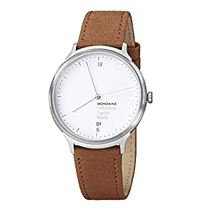 Mondaine Unisex Quartz Watch with White Dial Analogue Display and Brown Leather Strap Helvetica No1 Light