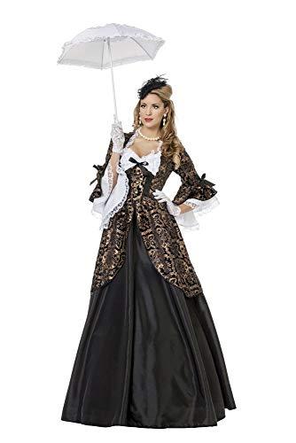 shoperama Marquise Estella Barock Rokoko Damen Kostüm Samt Spitze Schwarz/Gold Gräfin Adlige Mätresse Madame de Pompadour, Größe:40 (Madame De Pompadour Kostüm)