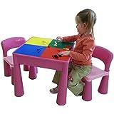 De Liberty House infantil Mesa Juguetes multiusos y sillas con Junta Constructora (rosa)