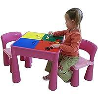 Preisvergleich für LibertyHouseToys 5in 1Activity Tisch & Stühle mit Schreiben Top/Lego/sand/Wasser/Storage