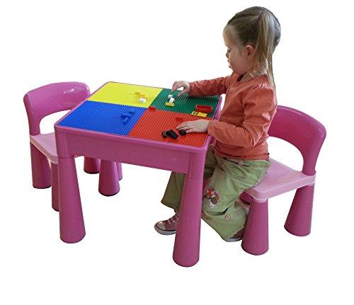 LibertyHouseToys 5in 1Activity Tisch & Stühle mit Schreiben Top/Lego/Sand/Wasser/Storage