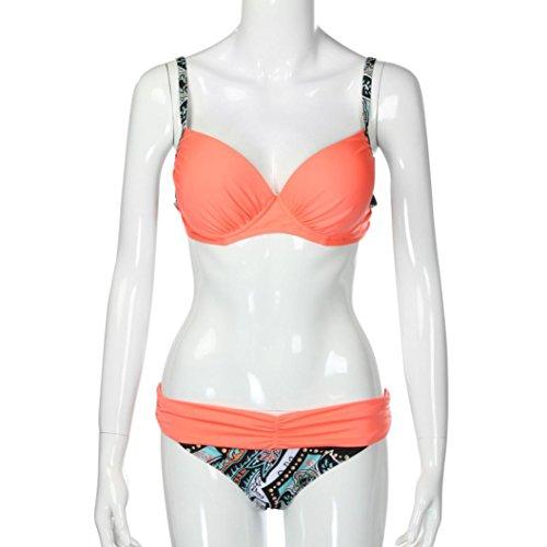 Femmes Maillot de bain,Xjp Bikini à Deux Pièces Pantalon Imprimé Rayé Taille Basse Soutien-gorge Rembourré Push-up 3 Couleurs Orange