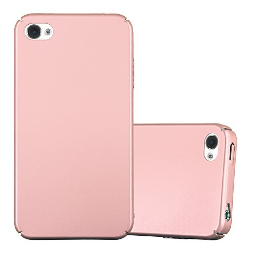 Apple iPhone 4 / iPhone 4S Hardcase Hülle in METALL ROSE GOLD von Cadorabo - Metall Look Matte Ultra Dünn Slim Design TPU Schutzhülle – Handyhülle Bumper Back Case Cover Iphone 4 Gold Case
