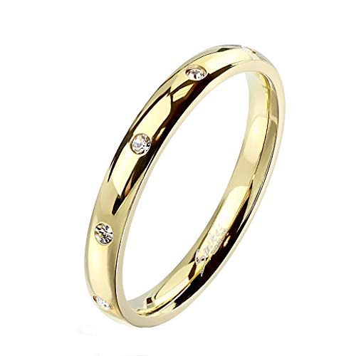 Paula & Fritz® Damen-Ring glänzend 3mm Zirkonia Silber Gelb-Gold Rosé-Gold Bunt Freundschafts-Ring Partner-Ring Edelstahl 316L R-M6822G_80